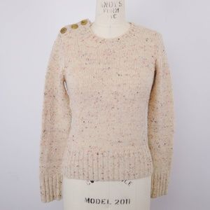 Charlie & Robin Sweater Marled Gold Button Wool XS